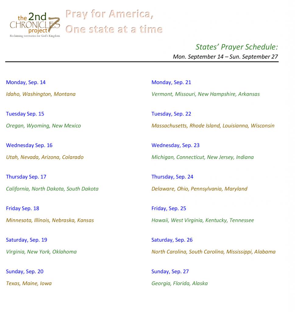 States Prayer Schedule